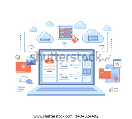 Cloud computing and web services, technology, data storage, hosting, connection. Login page and password on laptop screen, server, infographic elements. Vector illustration on white background.