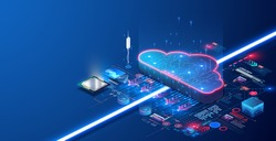 Cloud computing, big data. The concept of a data processing center, a cloud database, a server power plant of future. Digital information technologies. devices with online database. Stock illustration