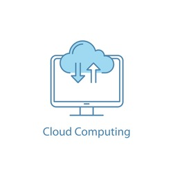 Cloud computing color icon. Internet data storage. File sharing service. Cloud web storage. Data transfer. Upload and download. Computer display. Isolated vector illustration