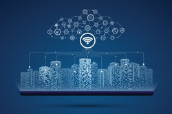Cloud computing. Communication in digital or smart city, Social network connections. Business big data technology concept.