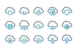 Cloud Computing, Computer cloud and Cloud Hosting related line icons. Cloud storage and Network Vector icon set.