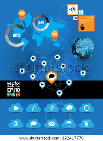 Cloud Computing concept background and world map