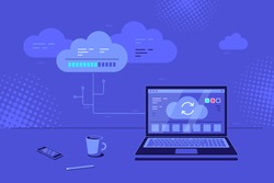 Cloud computing concept banner. Cloud server data transfer and storage. Laptop with cloud upload icon on screen. Flat style vector illustration.