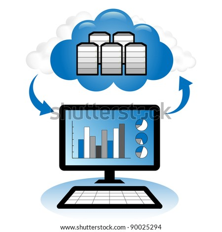 "Cloud computing concept. Client computer accessing accounting statistical database located in the ""cloud""."