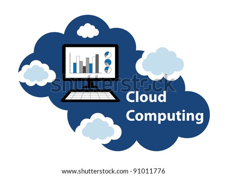 """Cloud computing concept. Client computer accessing accounting statistical database located in the """"cloud""""."""