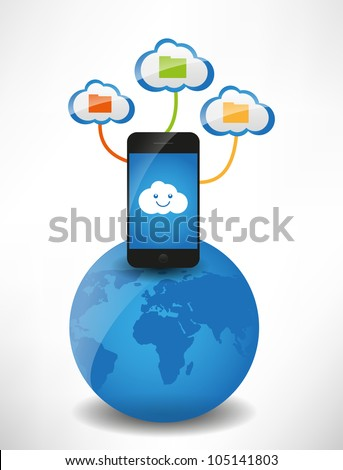 Cloud computing concept. Clouds with files, the mobile phone is on the globe