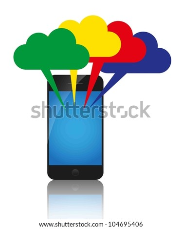 Cloud computing concept. Colorful clouds and mobile phone