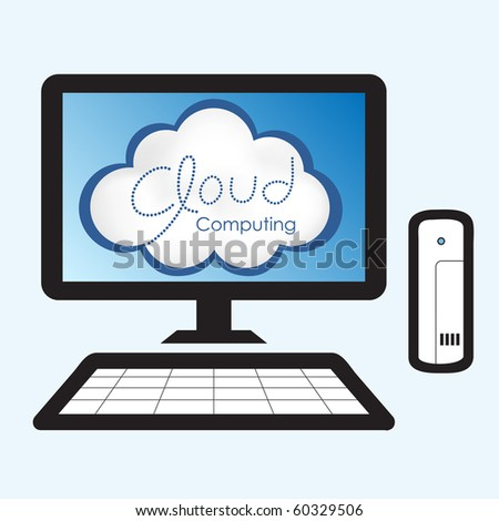 "Cloud computing concept. Computer screen displaying ""Cloud Computing"" message."