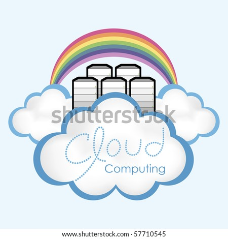 "Cloud computing concept. Computer servers located in the ""cloud""?� with rainbow."