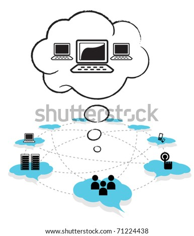 Cloud computing concept design - stock vector