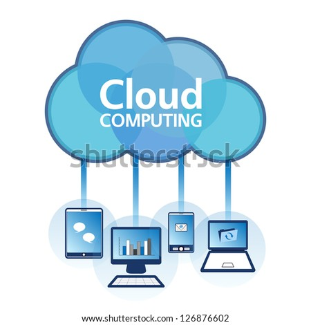 Cloud computing concept design. Devices connected to the �cloud�. EPS10.