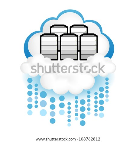 "Cloud computing concept design. Servers in the ""cloud"" raining data transmission."