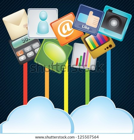 Cloud computing concept design, with different apps. On dark background