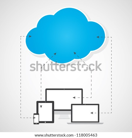 Cloud computing concept. Devices sending and receiving files. Vector eps10
