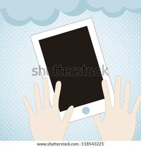 Cloud computing concept, exchange of information