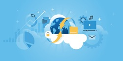 Cloud computing concept for website banner. Modern flat line design vector illustration for web design, marketing and print material.