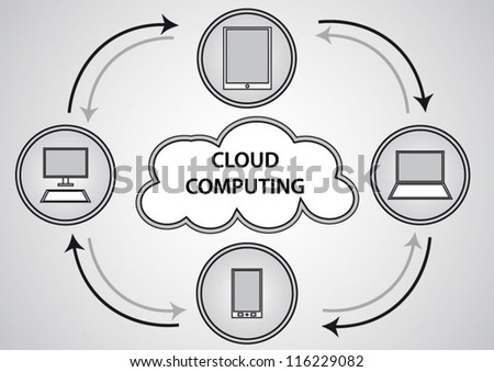 Cloud computing concept grey design background