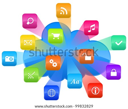 Cloud computing concept: group of colorful application icons and blue cloud isolated on white background