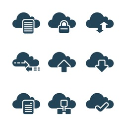 Cloud computing concept icons with glyph style.