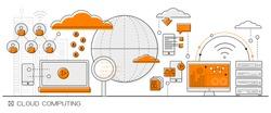 Cloud Computing concept info graphics. line icon flat design elements vector. big data