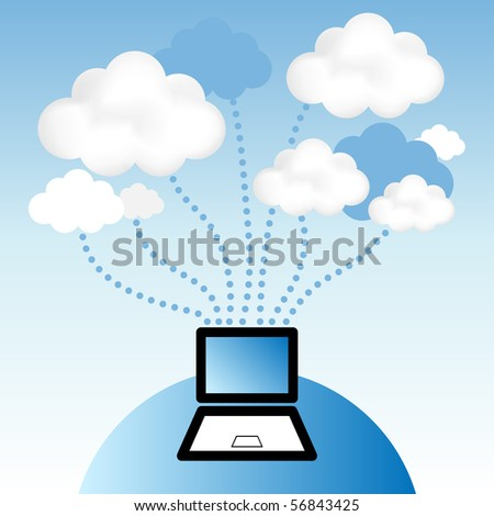 "Cloud computing concept. Laptop computer communicating with resources located in the ""cloud""."