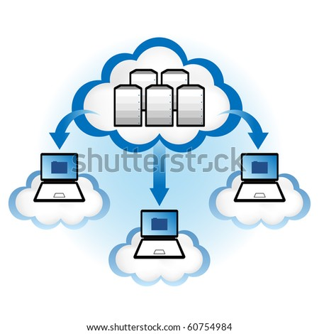 "Cloud computing concept. Laptop computers downloading application data from servers located in the ""cloud"". - stock vector"