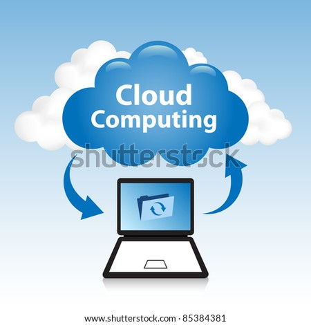 "Cloud computing concept. Laptop synchronizing data located in the ""cloud"""