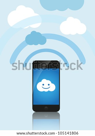 Cloud computing concept. Mobile phone makes contact with a cloud server.