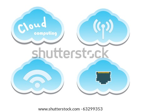 Cloud computing concept. Network Socket, WiFi and wireless Icons.