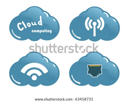 Cloud computing concept. Network Socket, WiFi and wireless Icons