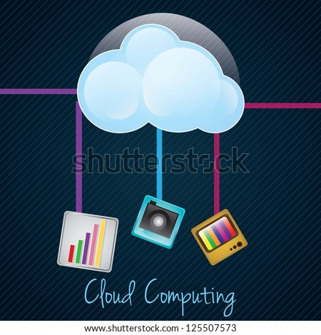 Cloud Computing concept on dark background with different apps. Vector illustration