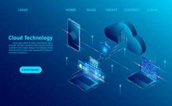Cloud Computing Concept. Online computing technology. Big data flow processing concept, 3d servers and datacenter. isometric flat design. Vector illustration.