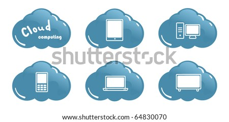 Cloud computing concept PC Tablet PC Laptop and Mobil Phone Icons