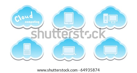 Cloud computing concept. PC, Tablet PC, Laptop, and Mobil Phone Icons.