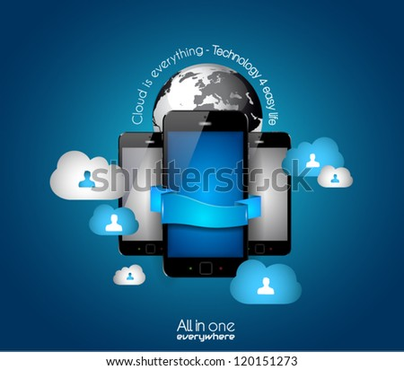Cloud Computing concept - set of paper tags, technology icons, cloud cmputing, graphs, paper tags, arrows, world map and so on. Ideal for statistic data display.