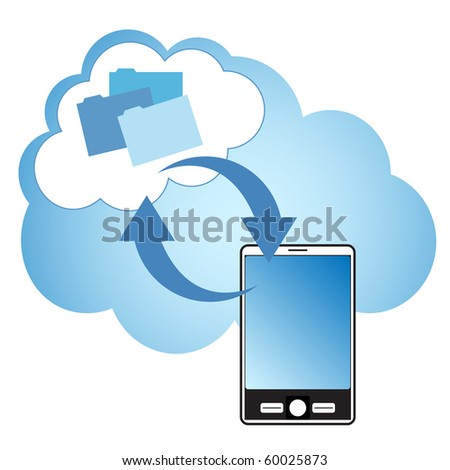 "Cloud computing concept. Smartphone synchronizing data with the ""cloud""."