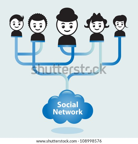 "Cloud computing concept. Social networking via the ""Cloud"" or the internet. - stock vector"