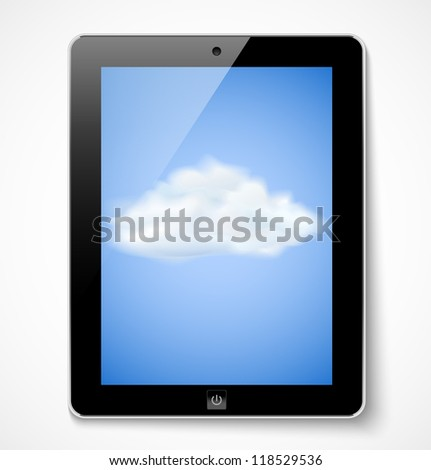 Cloud computing concept. Tablet computer with cloud icon. Vector illustration