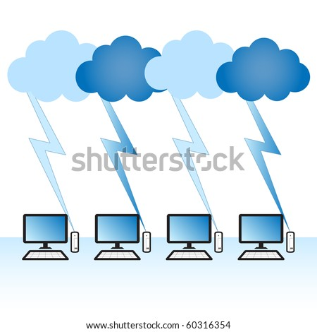 "Cloud computing concept. Thin client computers communicating with resources located in the ""cloud""."