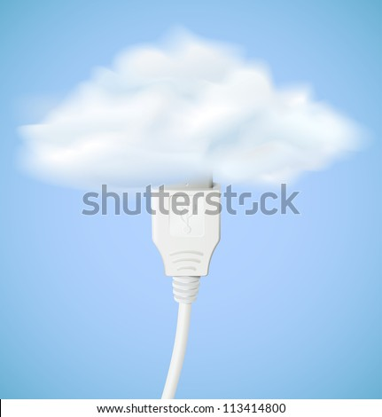 Cloud computing concept. Usb cable is connected to the cloud. Vector illustration eps10