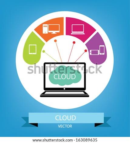 Cloud computing concept. Vector illustration.
