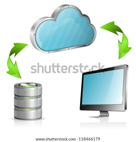 Cloud Computing Concept with Computer, Database Icon and Arrow, isolated on white background, vector