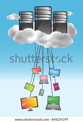 Cloud computing concept with data servers and connected computers, netbooks, smartphones, netbooks. Colorful illustration