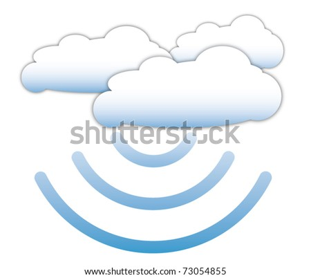 Cloud computing concept with data signal - stock vector