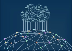 Cloud computing connected to the world wide web / internet. Vector illustration background for information technology.
