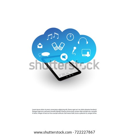 Cloud Computing Design Concept - Digital Network Connections, Technology Background