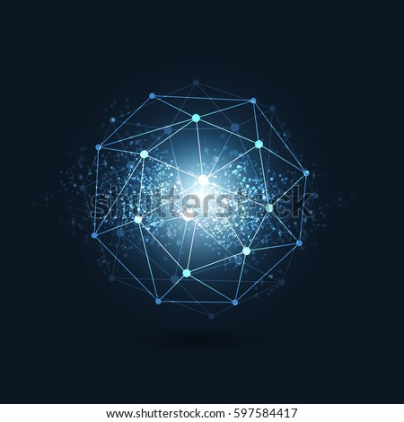 Cloud Computing, Digital Networks Structure, Telecommunications Concept Design, Modern Style Global Network Connections, Transparent Geometric Globe Wireframe with Sparkling Background