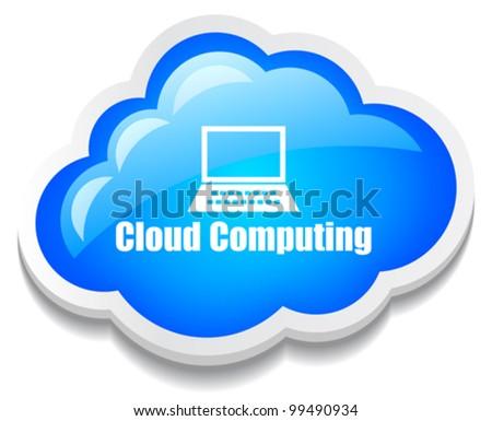 Cloud computing icon, eps10 illustration