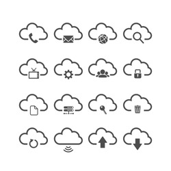 cloud computing icon set, each icon is a single object (compound path), vector eps10