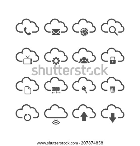 cloud computing icon set each icon is a single object compound path vector eps10
